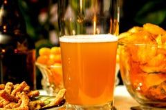 Mooie avondsamenstelling met bier en snacks stock foto