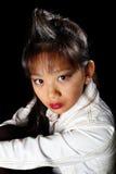 Mooie Aziaat in een denimjasje Stock Afbeeldingen