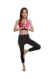 Mooie Aziatische gezonde girl do yoga stelt Royalty-vrije Stock Fotografie