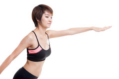 Mooie Aziatische gezonde girl do yoga stelt Stock Foto's
