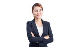 Mooie Aziatische jonge bedrijfsvrouw op witte achtergrond royalty-vrije stock fotografie