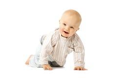 Mooie baby op witte achtergrond Kind Weinig leuk jong geitje stock foto's
