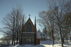 Mooie baksteen gotische heropleving 1868 kapel notre-dame-DE-Grâce royalty-vrije stock foto