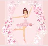 Mooie ballerina - abstracte kaart Stock Foto