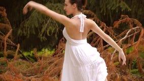 Mooie ballerina die oefeningen in een park doen stock video