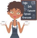 Mooie Barista Girl in haar koffiewinkel Vector Illustratie
