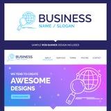 Mooie Bedrijfs globale Conceptenmerknaam, meer magnifier bol, stock illustratie