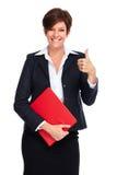 Mooie bedrijfsvrouw met kort kapsel stock fotografie