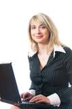Mooie bedrijfsvrouw met laptop Royalty-vrije Stock Afbeelding