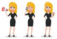 Mooie bedrijfsvrouw Reeks met blondeonderneemster vector illustratie