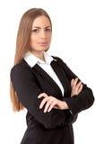 Mooie bedrijfsvrouw vol vertrouwen op witte achtergrond Royalty-vrije Stock Foto