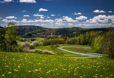 Mooie Beierse Plattelandsweg Stock Afbeeldingen