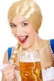 Mooie Beierse vrouw met bier Royalty-vrije Stock Fotografie