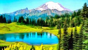 Mooie Bergpiek met de Zomersneeuw vector illustratie