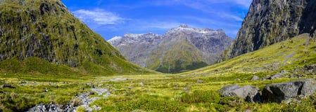 Mooie bergvallei in Nieuw Zeeland stock foto's