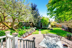 Mooie binnenplaatsmening met twee terrasgebieden en bloeiende bomen Stock Foto's