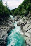 Mooie blauwe aplinerivier Soca, Soca-Vallei, Slovenië, Europa Royalty-vrije Stock Afbeelding