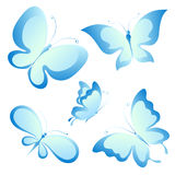 Mooie blauwe die vlinders, op een wit worden geïsoleerd Royalty-vrije Stock Afbeelding