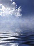 Mooie blauwe hemel en overzees Stock Afbeeldingen