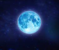 Mooie blauwe maan op hemel en ster bij nacht In openlucht bij nacht Stock Afbeelding