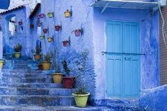 Mooie blauwe medina van de stad van Chefchaouen in Marokko royalty-vrije stock foto's
