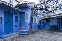 Mooie blauwe medina van de stad van Chefchaouen in Marokko royalty-vrije stock afbeeldingen