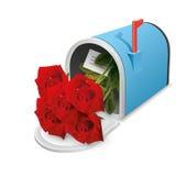 Mooie blauwe open brievenbus met binnen bloemen Het pictogram van toestellen Royalty-vrije Stock Fotografie
