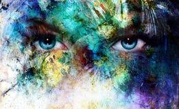 Mooie blauwe vrouwenogen die, het ritseleneffect van de kleurenwoestijn, het schilderen collage, kunstenaarsmake-up richten royalty-vrije illustratie
