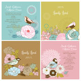 mooie bloem & vogelachtergrond vector illustratie