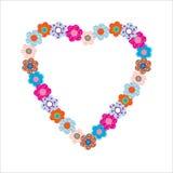 Mooie bloemen in hartvorm Royalty-vrije Stock Afbeeldingen