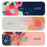 Mooie bloemen horizontale vectorbanners Stock Afbeeldingen
