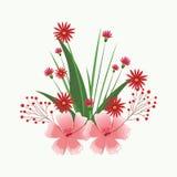 Mooie bloemen met bladeren Royalty-vrije Stock Afbeeldingen