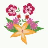 Mooie bloemen met bladeren Stock Foto's