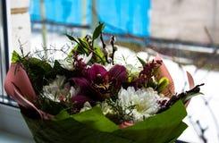 Mooie bloemen op een vensterachtergrond Stock Foto