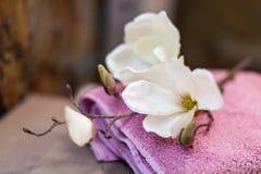 Mooie bloemen op handdoeken in badkamers stock afbeelding