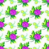 Mooie bloemen op wit naadloos patroon als achtergrond royalty-vrije illustratie