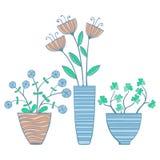 Mooie Bloemen in Potten, Vectorillustratie Royalty-vrije Stock Afbeeldingen