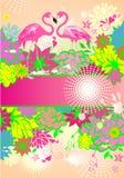 Mooie bloemen zomerse banner met kleurrijke bloemen en paar van roze flamingo stock foto