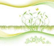 Mooie bloemenachtergrond met modern gevoerd art. Stock Foto