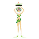 Mooie bloemenvrouw Royalty-vrije Stock Foto