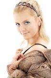 Mooie blond in bontjasje Stock Foto's