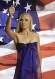 Mooie blond met vlag Stock Foto