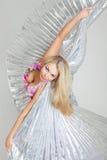 Mooie blond op de witte achtergrond Royalty-vrije Stock Fotografie