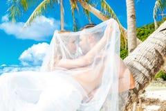 Mooie blonde bruid in witte huwelijkskleding met groot lang wit Royalty-vrije Stock Afbeeldingen