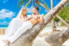Mooie blonde bruid in witte huwelijkskleding met groot lang wit Royalty-vrije Stock Foto
