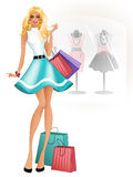Mooie blonde in een blauwe kleding vector illustratie