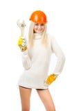 Mooie blonde met een moersleutel. Royalty-vrije Stock Afbeeldingen