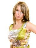 Mooie blonde op wit Royalty-vrije Stock Foto's