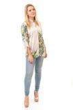 Mooie Blonde Tiener in Overhemd en Broeken stock fotografie