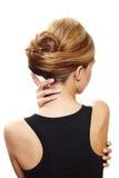 Mooie blonde vrouwenrug Stock Foto's
